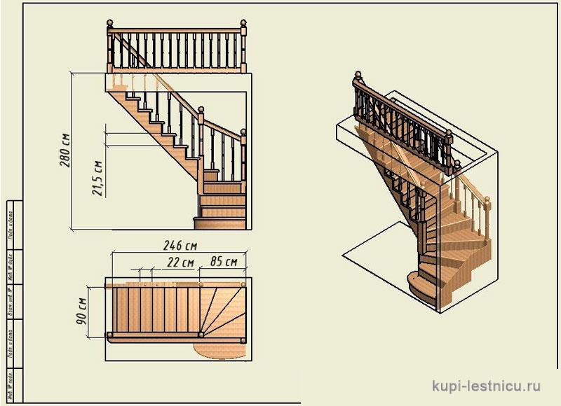 Лестницы на 2 этаж  чертежи 175