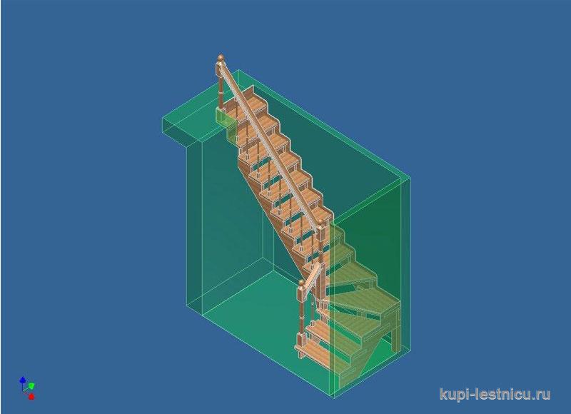 Г образная лестница с тремя забежными ступенями