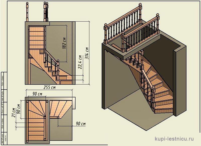 Сделать лестницу с поворотом своими руками 14