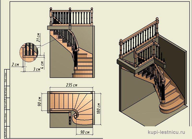Лестница с поворотом на 90 градусов своими руками