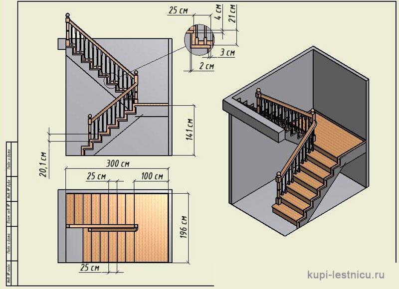 Лестница с поворотом на 180 своими руками 613