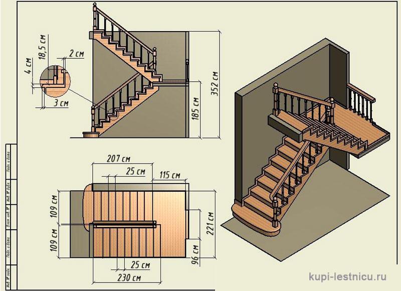Расчет лестницы на второй этаж в частном доме своими руками схема фото 17
