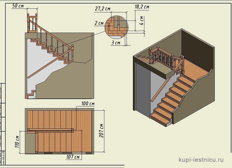 Лестница на второй этаж своими руками п образная