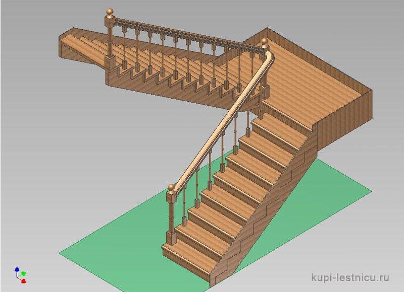 Лестница на 180 градусов с площадкой своими  98