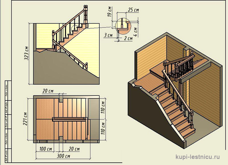 Лестница на 180 градусов с площадкой своими  247