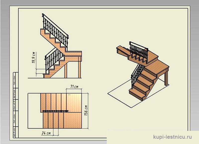 Деревянная лестница на второй этаж своими руками с поворотом на 180 схема 65