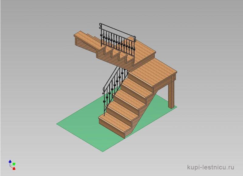 Лестница на 180 градусов с площадкой своими  516