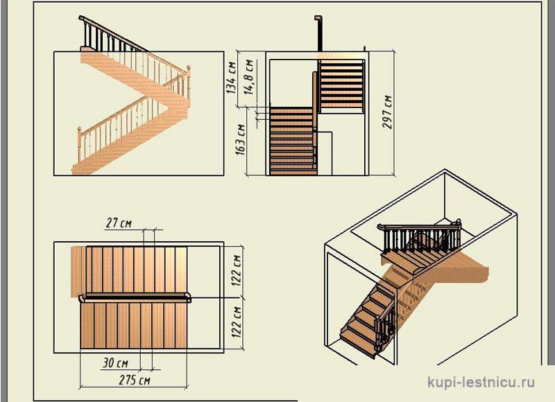 Лестница своими руками с поворотом на 180  25