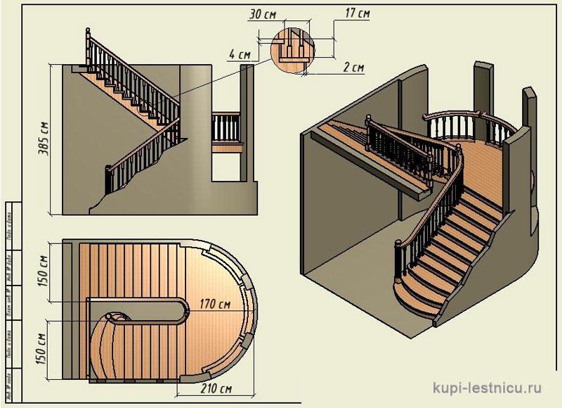 Лестница своими руками с поворотом на 180  716