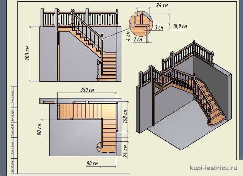 Лестница угловая на второй этаж своими руками из дерева