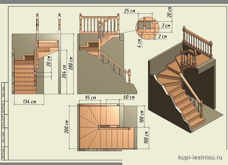 Лестница с поворотом на 180 своими руками 171