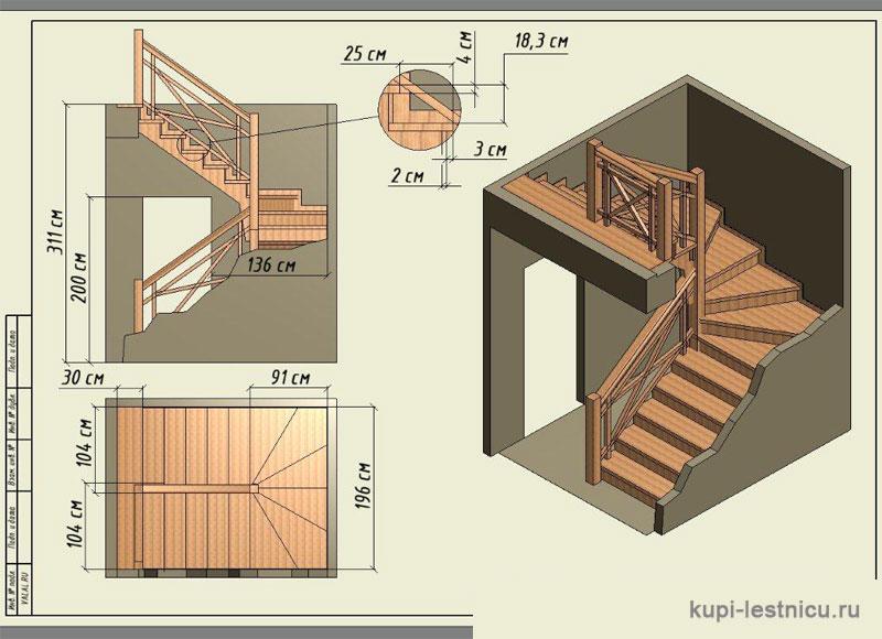 Лестница своими руками с поворотом на 180  899
