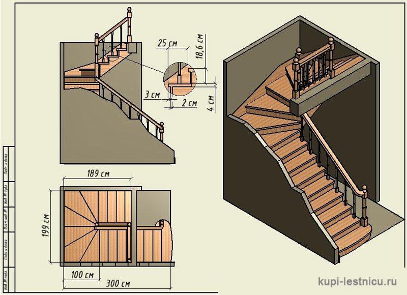 Лестница своими руками с поворотом на 180  135