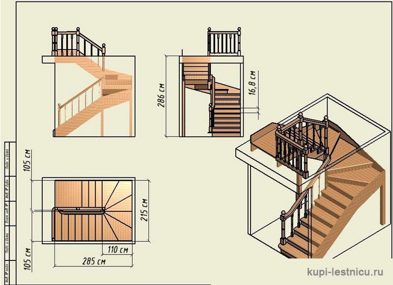 Лестницы на второй этаж ступени 125