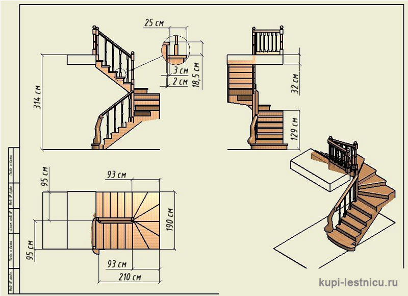 Лестница своими руками с поворотом на 180  236