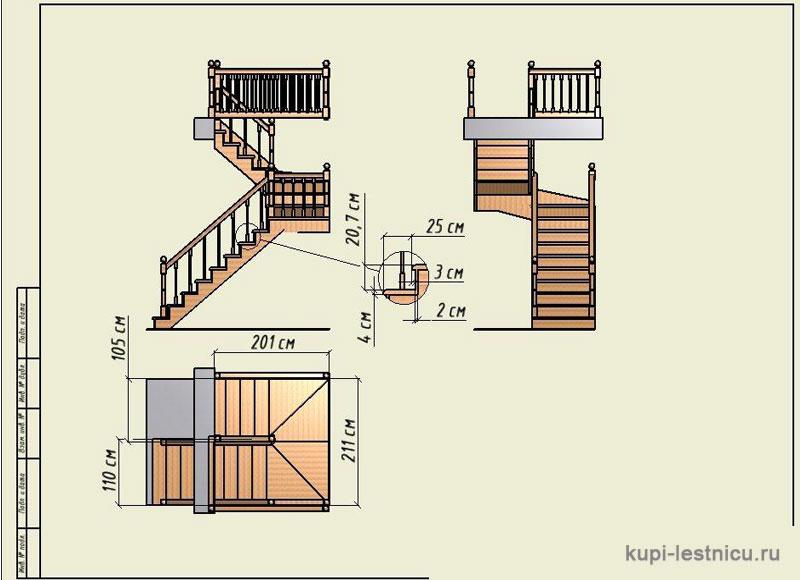 Проекты забежных лестниц с поворотом на 180 градусов