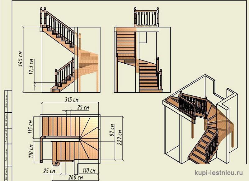 Лестница с забежными ступенями с поворотом на 180 своими руками
