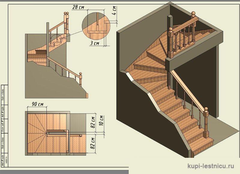 Лестницы с забежными ступенями в частных домах своими руками