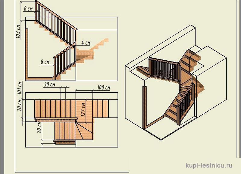 Схема расположения лестницы в доме