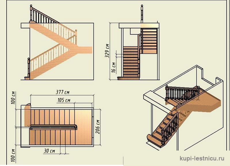 Лестница для дачи на второй этаж своими руками