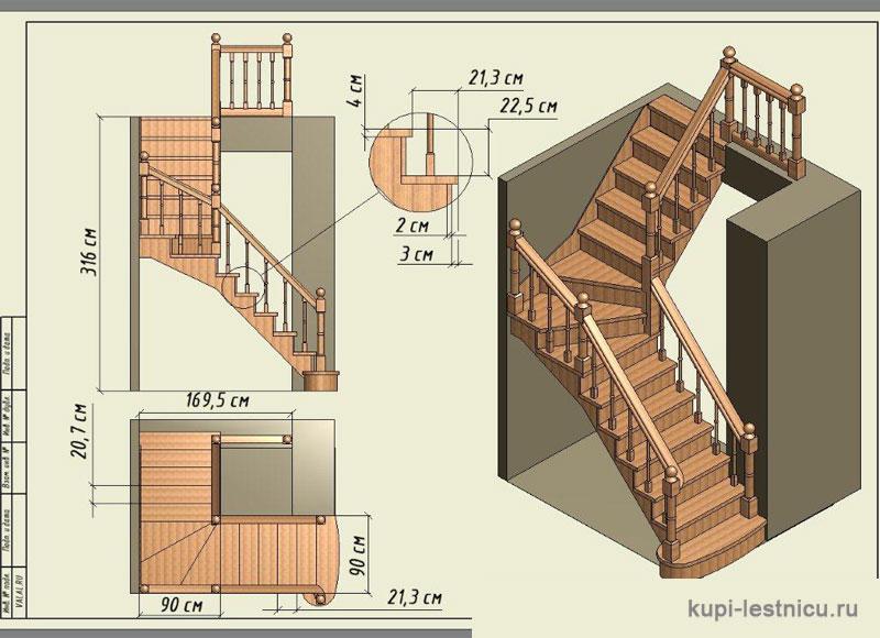 Расчет лестницы с забежными ступенями своими руками