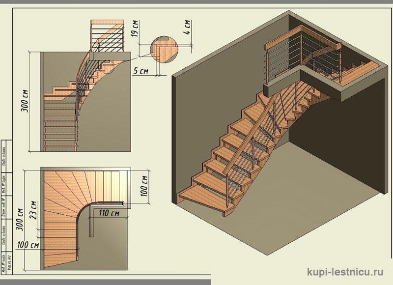 Г г-образная лестница на второй этаж своими руками 62