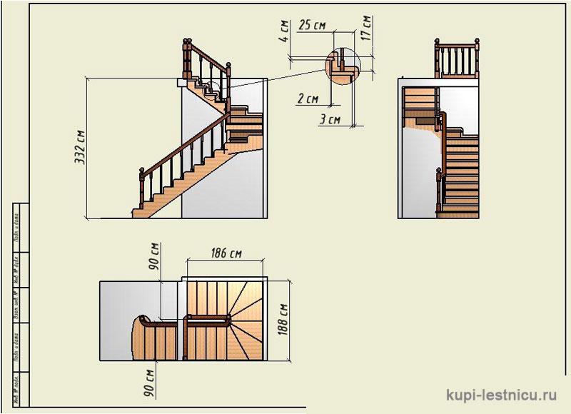 П образные лестницы на второй этаж в частном доме схема