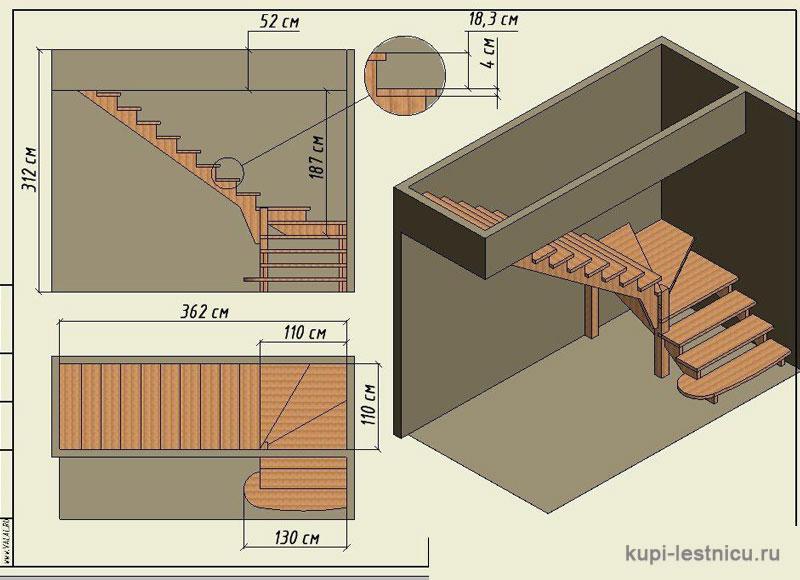 Лестница с забежными ступенями своими руками г-образная