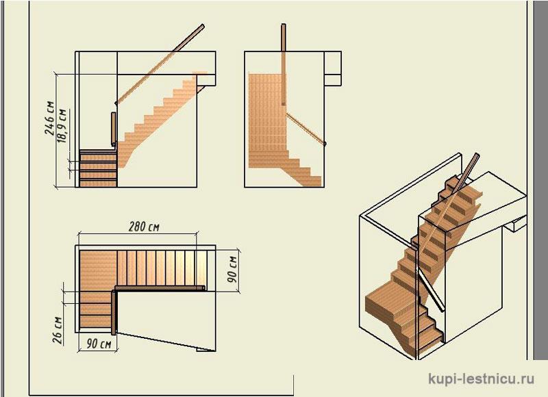 Как сделать деревянную угловую лестницу на второй этаж своими руками